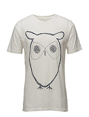 Single Jersey With Owl Print - GOTS - STAR WHITE