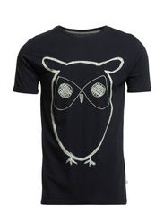 Single Jersey With Owl Print GOTS - Total Eclipse
