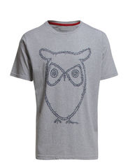 T-Shirt With Owl print - GOTS - Grey Melange