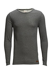 Double Layer Long Sleeve Tee - Dark Grey Melange