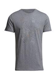 T-Shirt W/ owl print - GOTS - Grey Melange