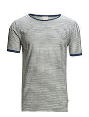 Reverse striped yarndyed Tee - GOTS - Estate Blue