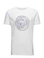 Tee W/ Owl Wooden print - GOTS - BRIGHT WHITE