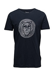 Tee W/ Owl Wooden print - GOTS - TOTAL ECLIPSE