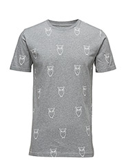 All Over Big Owl printed tee - GOTS - GREY MELANGE