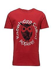 Tee W/Owl print - GOTS - POMPEAIN RED