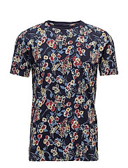 T-Shirt W/Flower Print - GOTS - PEACOAT
