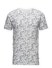 T-Shirt W/Allover Bird Print - GOTS - BRIGHT WHITE