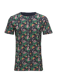 T-shirt w/ flower AOP - GOTS - GREEN LAKE