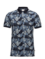 Pique polo with big palm leaf print - TOTAL ECLIPSE