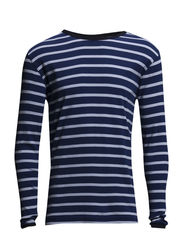 1x1 Rib Striped Long Sleeve - Estate Blue