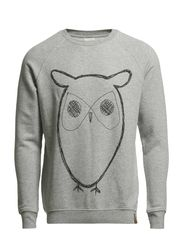 Sweat Shirt With Owl Print - Grey Melange