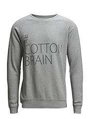 Sweat w/Cotton Brain Print - Grey Melange