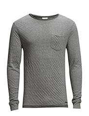 Double Layer Narrow Striped - GOTS - Grey Melange