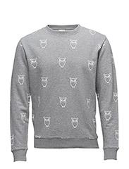 Sweatshirt w/Big Owl Print - GOTS - GREY MELANGE