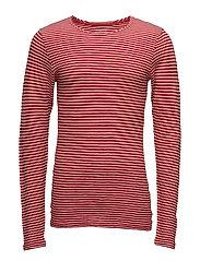 Yarndyed Striped Indigo Long Sleeve - HIGH RISK RED