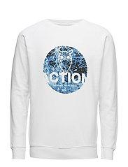 Sweat W/Round Action Print - BRIGHT WHITE