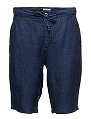 Loose Yarn Dyed Linen Shorts - PEACOAT