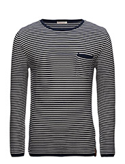 Reverse Striped Round Neck Knit - G - PEACOAT