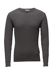 Cotton/Cashmere Cable Knit - GOTS - DARK GREY MELANGE