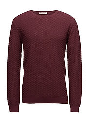 Check Round Neck Knit - GOTS - TAWNY RED