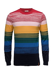 Mulit col. Crew neck knit    - GOTS - TOTAL ECLIPSE