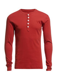 Rib Knit Henley GOTS - Red Ochre