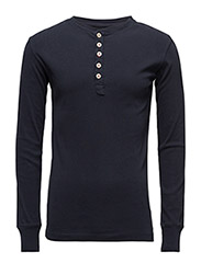Rib Knit Henley GOTS - Total Eclipse