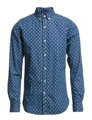Denim Shirt With All Over Owl Print - Deep Sea