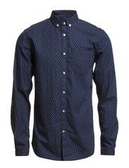 Poplin Shirt With Dot Print - Total Eclipse