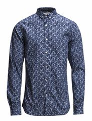 Flower Printed Poplin Shirt - Estate Blue
