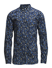 Poplin Shirt w/All over Flower Prin - Total Eclipse