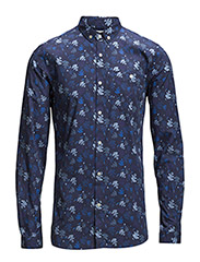 Poplin Shirt W/Oak Leaf Print - Total Eclipse