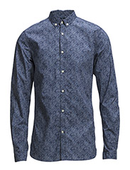 Poplin Shirt w/Small Multi Col. Dot - Total Eclipse