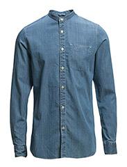 Stand Collar Denim Chambray Shirt - Deep Sea