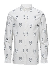 Oxford W/Owl Print L/S - GOTS - BRIGHT WHITE