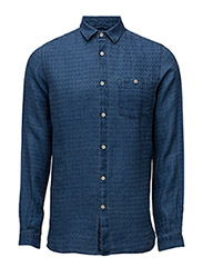 Denim Look Linen Shirt - STONE WASHED