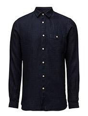 Denim Look Linen Shirt - WASHED DEEP BLUE