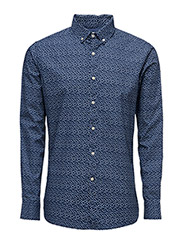 Dot Printed Poplin Shirt - GOTS - PEACOAT