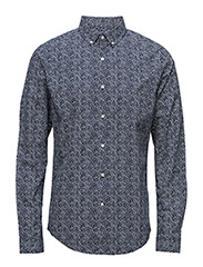 Circled Dot Printed Poplin Shirt - - PEACOAT