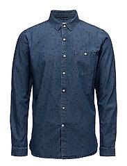 Denim Chambray Shirt W/Allover Prin - DEEP SEA