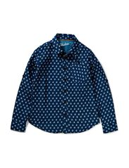 Shirt - dark blue printed