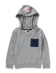 Sweat w hoodie - light grey melange