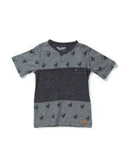T-shirt, V-neck - medium grey melange