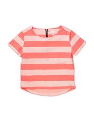 Fashion top - Striped coral/off white