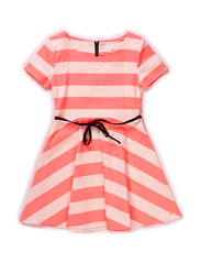 Dress - Striped coral/off white