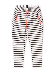 Pants, Loose fit - Striped black/off white