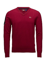 MAN V NECK SWEATER LAMBSWOOL - RIO RED