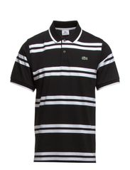 SHORT SLEEVED RIBBED COLLAR SHIRT - BLACK/WHITE