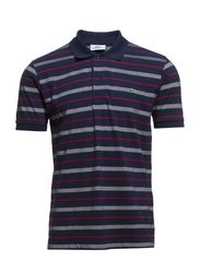 SHORT SLEEVED RIBBED COLLAR SHIRT - NAVY BLUE/WINE-FLOUR